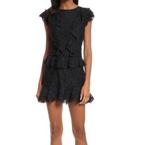 Joie Acostas Ruffled Lace Mini Dress in Black